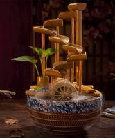 陶瓷流水喷泉摆件风水轮竹子